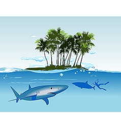 Shark island daylight vector