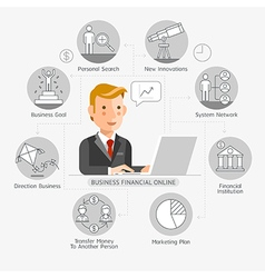 Business Financial Online Conceptual Flat Style vector image