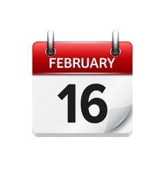 February 16 flat daily calendar icon date vector