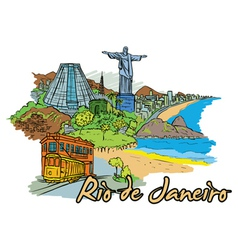 Rio de janeiro doodles vector