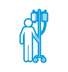 Blue shading silhouette pictogram person vector