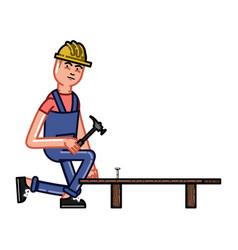 Builder clogs a nail vector