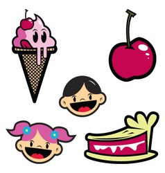 cartoon drawing of isolated objectsice creamcherry vector image