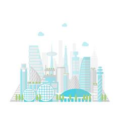 Cartoon future city on a landscape background vector