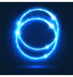 Circles of neon light flashes and sparkles vector