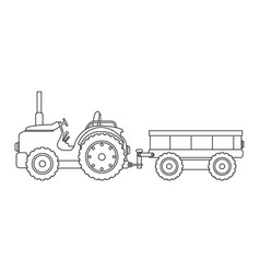 farm tractor with carriage vector image