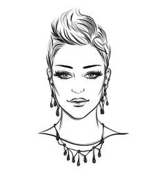 Fashion portrait lineart vector