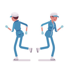 Female janitor running rear and front view vector
