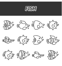 Fish cartoon concept icons vector