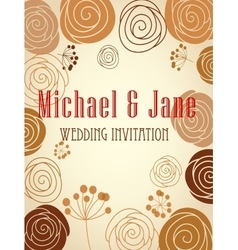 Floral wedding invitation template design vector image