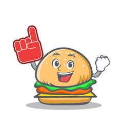 foam finger burger character fast food vector image vector image