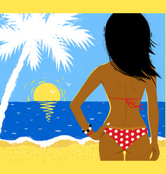 Girl on beach vector