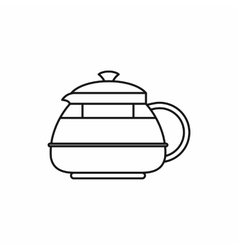 Glass teapot icon outline style vector image