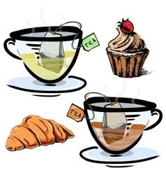 Green and black tea in glass cups with sweets vector image vector image