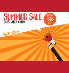 hand holding megaphone to speech - summer sale vector image vector image