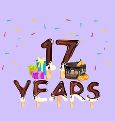 happy birthday seventeen 17 year card vector image vector image