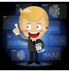 Happy businessman working with data processing vector