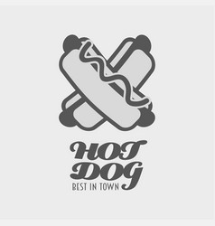 Hot dog logo label or badge fast food vector