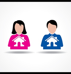 Male and Female thinking about their home vector image