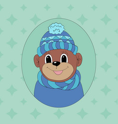 Monkey in a blue cap and scarf print for clothes vector