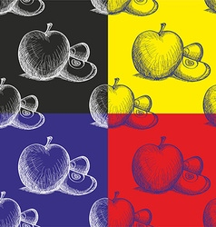 Pattern with painted apple vector image