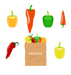 pepper in brown paper bag vector image