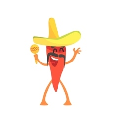 Red Hot Chili Pepper Humanized Emotional Flat vector image vector image