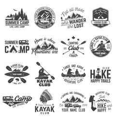 Set of canoe hiking kayak and camping club badge vector