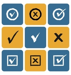 Set of hand drawn check marks icons vector