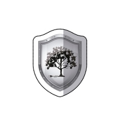 Shield sticker tree with multiple leafy branches vector