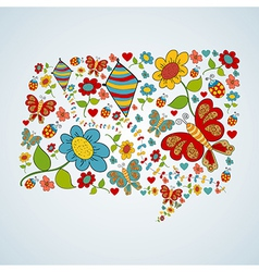 Spring social media chat bubble talk vector image
