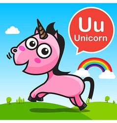 U Unicorn color cartoon and alphabet for children vector image