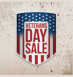 Veterans day sale banner on grunge background vector