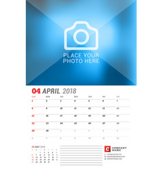 wall calendar planner for 2018 year april print vector image vector image