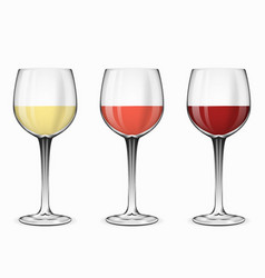 Wine glasses glass of red rose and white vector