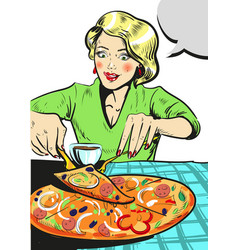 woman eating pizza comic vector image vector image