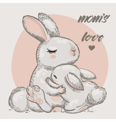 Cute hares - mom and kid vector