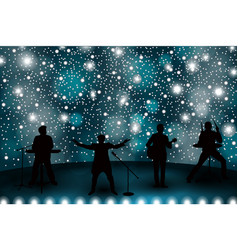 Band show concept with blue light and stars set vector