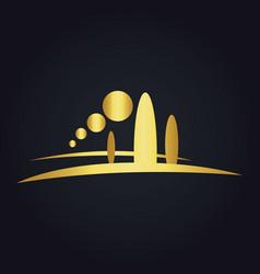 Pine tree mountain nature gold logo vector