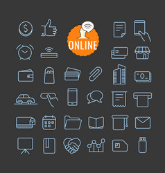 different online icons collection web and mobile vector image