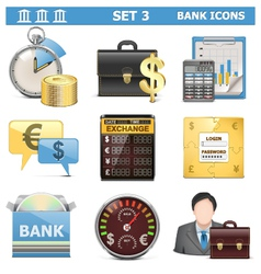 Bank icons set 3 vector