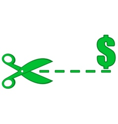 Dotted line with scissors and money symbol vector