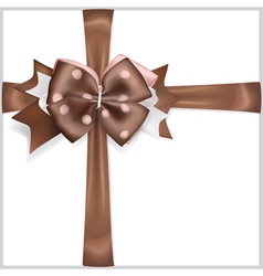 Brown bow with crosswise ribbons vector