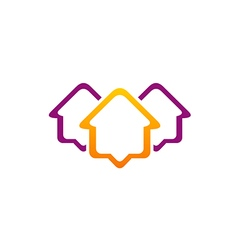 Housing line icon roof realty logo vector