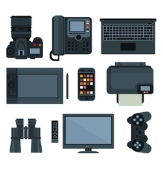 Office equipment set of icon vector