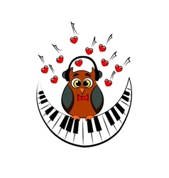 Owl with piano vector