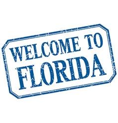 Florida - welcome blue vintage isolated label vector