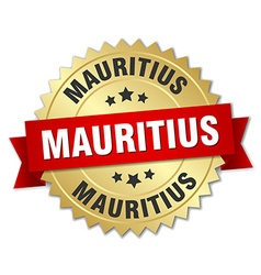 Mauritius round golden badge with red ribbon vector