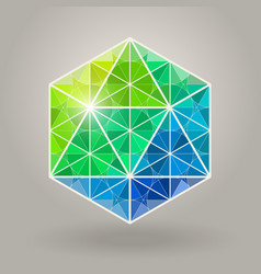 Abstract geometric blue green hexagonal vector