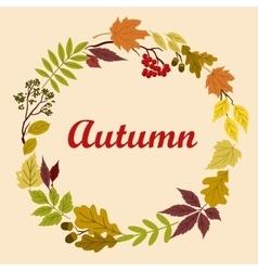 Autumnal wreath with acorns leaves and viburnum vector